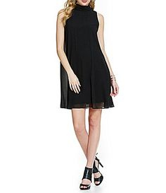 Vince Camuto Mockneck Chiffon Dress #Dillards