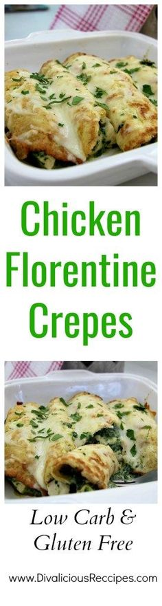 Chicken crepes are an easy comfort food. These chicken Florentine crepes are made with coconut flour for a healthier, low carb and gluten free dish.