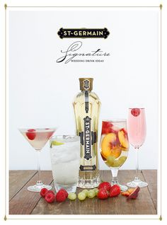 Signature Wedding Drink Ideas with recipes like Sangria Flora, La Rosette and White Cosmopolitan. Refreshing  signature wedding drinks.