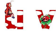 S.T.R.U.M.F.: Litere mari si cifre buburuze Smurfs, Ronald Mcdonald, Collage, Ladybugs, Reptiles, Fictional Characters, Insects, Alphabet, Wall
