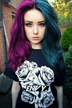 Purple and Teal Hair. Once I was going into a store when I saw a girl with Neon green and bright green hair just like this but it was shorter than hers.: