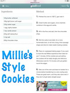 Millie's style cookies Bbc Good Food Recipes, Sweet Recipes, Baking Recipes, Cookie Recipes, Dessert Recipes, Cookie Ideas, Biscuit Cookies, Yummy Cookies, Healthy Treats