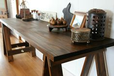 Traditional Oak trestle table  desk dining by PlankandTrestle