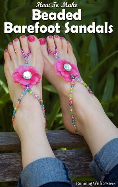 DIY Beaded Barefoot Sandals for Summer! This craft tutorial shows how easy it is to make a pair of trendy and barefoot sandals out of beading elastic, iridescent and rhinestone beads, and silk flowers topped with big acrylic gems. Fun craft project for kids, tweens, teens, or even an adult girls' day!