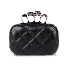 Black Quilted Skull Ring Clutch ($65) ❤ liked on Polyvore
