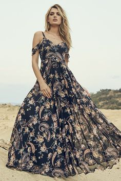 Stunning Pink and Black Floral Dress - Maxi Dress - Gown - Formal Dress - $98.00