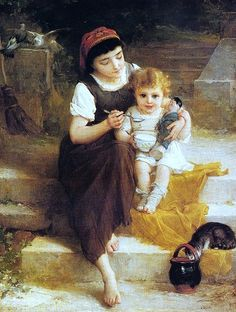 Lunch on the Steps - Emile Munier