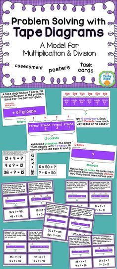 Problem solving with tape diagrams - This resource includes posters, worksheets, and task cards for using the tape diagram model to solve multiplication and division problems. Perfect for third and fourth grade math! Strip Diagram, Engage Ny Math, Multiplication And Division, Multiplication Strategies, Math Charts, Math Coach, Eureka Math, Singapore Math, Math Words