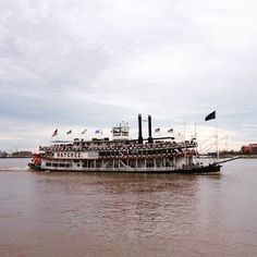 The steamboat Natchez drifting down the Mississippi River. #neworleans #nola #steamboat #louisiana #travel #frenchquarter #mississippiriver #beautiful by katyslcut