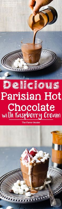 Parisian Hot Chocolate with Raspberry Whipped Cream - Only 3 ingredients to make this thick, luscious deep flavored hot chocolate, and topped with raspberry whipped cream. Enjoy hot chocolate, the way the French do!use almond or coconut milk Dessert Simple, Easy No Bake Desserts, Dessert Recipes, Pavlova, Raspberry Whipped Cream, Yummy Drinks, Yummy Food, Hot Chocolate Recipes, Chocolate Chocolate