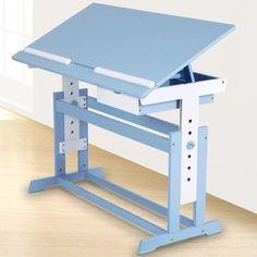 Childrens Writing Desk Height Adjustable 1 Drawer Blue Wooden Kids Study Room | eBay