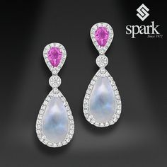 """Say """"I love you to the #moon and back"""" with these blue #moonstone, pink…"""