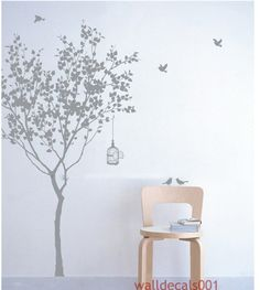 "Vinyl wall decals Tree decals Kids wall art baby nursery decals wall stickers wall deor wall art- tree with bird 72"". $56.00, via Etsy."
