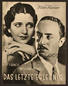 6e160 ONE WAY PASSAGE German program '33 different images of William Powell & pretty Kay Francis!