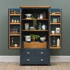kitchen pantry cabinets Westcote Blue Large Double Larder - The Cotswold Company Kitchen Pantry Cupboard, Kitchen Pantry Design, Kitchen Cupboards, New Kitchen, Kitchen Storage, Kitchen Decor, Kitchen Armoire, Food Storage Cabinet, Kitchen Ideas