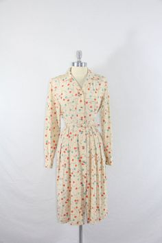 1950s Vintage Dress  Aqua and Coral Hearts by VintageFrocksOfFancy, $90.00
