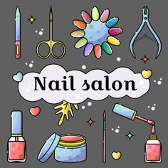 Nail salon and manicure tools. Cuticle nippers and scissors, nail polish, palette and gel paint. Vector flat set of isolated objects in linear style with botanical elements. Nail Salon Design, Nail Salon Decor, Manicure Tools, Diy Manicure, Iphone Wallpper, Cute Pictures To Draw, Unicornios Wallpaper, Nail Logo, Nail Art Studio