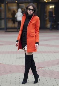 Orange Winter Coat Outfit Idea for 2015