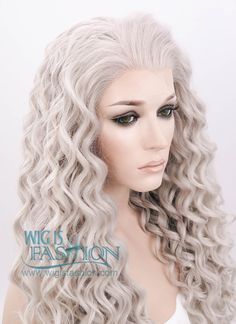 """26"""" Long Spiral Mixed Grey Lace Front Synthetic Hair Wig LF374"""