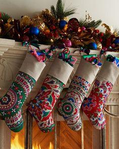 Suzani Christmas Stockings traditional holiday decorations