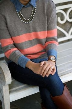 Striped sweater over chambray and denim with jewels and leather — yes!