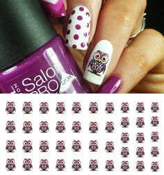 "Owl Nail Decals - 36 decals (5 1/2"" x 3"" sheet)"