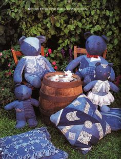 denim and lace bears