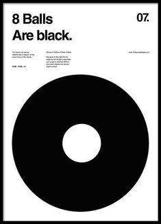 8 balls are black Plakat i gruppen Plakater / Størrelser / 50x70cm hos Desenio AB (2988)
