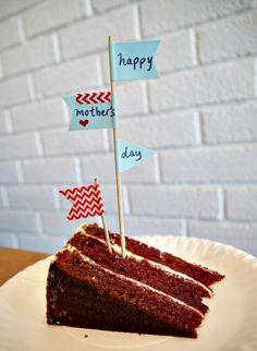 Mother's Day Red Velvet Cake with handmade flags :)