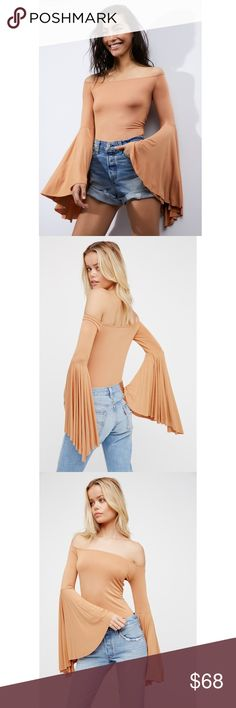 """FREE PEOPLE off the shoulder boho sleeve top A Free People best-seller, this 5-star rated top features exaggerated bell sleeves and a sexy form-fitting bodice. Off the shoulder style with stretchy, soft fabric. 31"""" bust (plus some stretch), 20.25"""" length, 23.5"""" sleeve length (based from size S). True to size. Selling out quickly at full price on FP! Get it while you can. Also have this posted in black!  Size: XS, S, M, L Retail: $68 Free People Tops Blouses"""