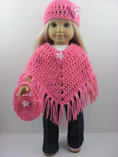 3 Piece Crocheted Poncho Set for The American Girl Doll, Pink Heart