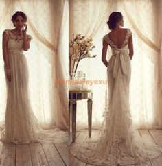 Lace Wedding Dresses Sheer Strap Backless White Ivory Mermaid Bridal Gowns 2014