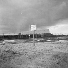 "THE LIBERATION OF BERGEN-BELSEN CONCENTRATION CAMP, APRIL 1945. View of a filled in mass grave. The grave marker reads ""Grave No 2 : 5000 lie buried here""."