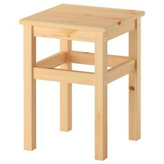 ODDVAR Stool - IKEA $9.95.  33cm x 33cm x 45 cm high. Tested up to 100kg. Pine.  Great to paint with chalk paint in bright colours for rumpus room etc.