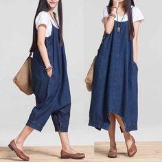 Women Loose Low Drop Crotch Harem Jeans Jumpsuits Maternity Dress Denim Overalls #Unbranded #Jumpsuit #Casual