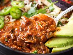 Smoky Beef and Poblano Pepper Chili
