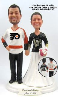 Custom Hockey Wedding Cake Topper. *I would never marry a flyers fan though.
