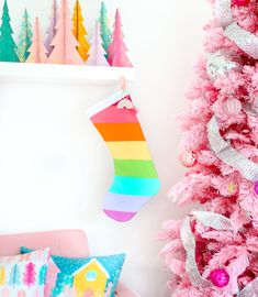 These DIY Rainbow Striped Christmas Stockins are simple to make with limited sewing skills, and look so cute hanging on a colorful Christmas mantle! Outdoor Christmas, Christmas Crafts, Christmas Decorations, House Decorations, Christmas House Lights, Holiday Crafts, Holiday Decor, Christmas Colors, Merry And Bright