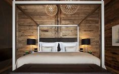 Chalet N - A super contemporary designed luxury ski chalet. Ski-in ski-out, fabulous indoor pool and great views. Wooden Bedroom, One Bedroom, Dream Bedroom, Val D'isère, Small Bedroom Designs, Relaxation Room, Interior Exterior, Interior Design, Decoration