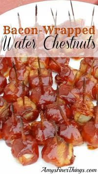 Bacon-Wrapped Water Chestnuts are a must-have at your holiday party. Salty/Sweet Chewy/Crunchy all in one delicious bite!