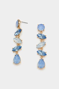Crystal Audrey Earrings in Graceful Blue on Emma Stine Limited