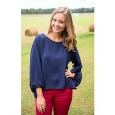 Not So Classic Blouse-Navy - $34.00