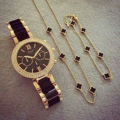Black&gold watch with simple accessories