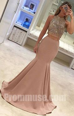 2 Pieces Beaded Top Mermaid Popular Inexpensive Long Prom Dresses, PM1015 #promdress #promdresses #longpromdress #longpromdresses #dress #eveningdress