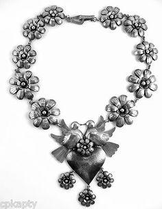 SUPERB Vintage HUGE Handmade Federico Jimenez Sterling Doves & Heart NECKLACE
