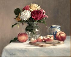 Plum, Pluots and Dutch Tulips Artist: Holly Hope Banks Realist painter who specialises in portraits, figurative outdoor work and sti...
