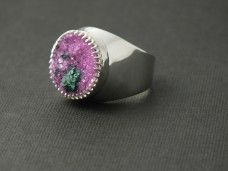 Pink cobalt calcite druzy and sterling silver ring