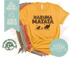 Hakuna Matata shirt Disney Family Shirt Animal Kingdom   Etsy Boy Disney Shirts, Disneyland Shirts, Disney Shirts For Family, Disney Family, Lion King Shirt, Lion King Baby Shower, Disney World Outfits, College Shirts, Animal Kingdom