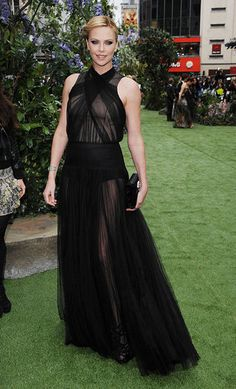 Charlize Theron in Dior at the premiere of Snow White and the Huntsman.