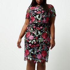 Plus pink floral embroidered midi dress - bodycon dresses - dresses - women